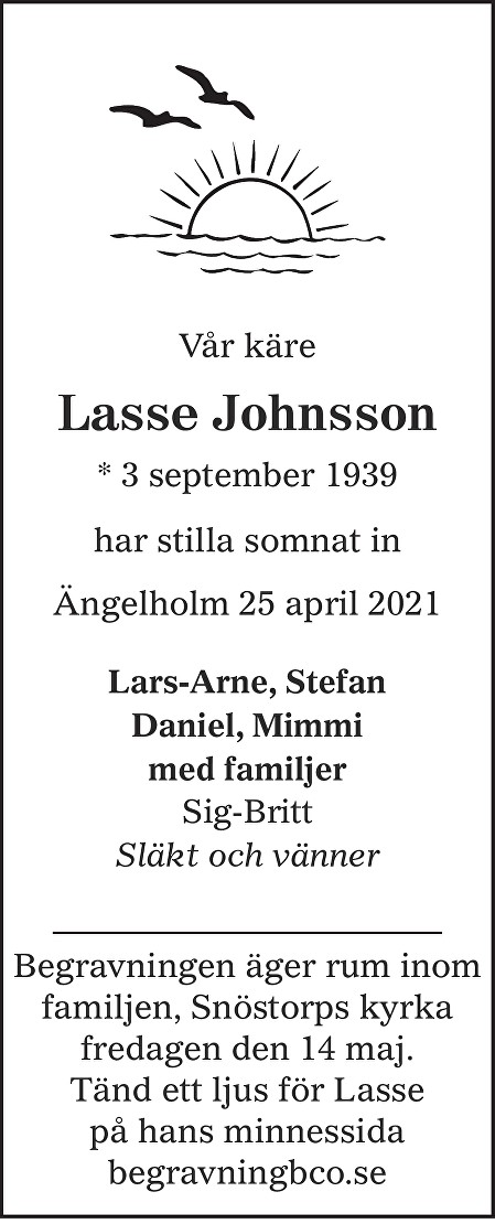 Lasse Johnsson Death notice