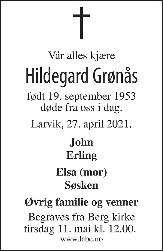 Hildegard Grønås Dødsannonse