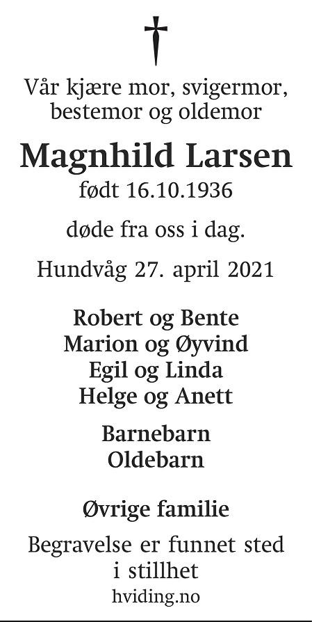 Magnhild Larsen Dødsannonse