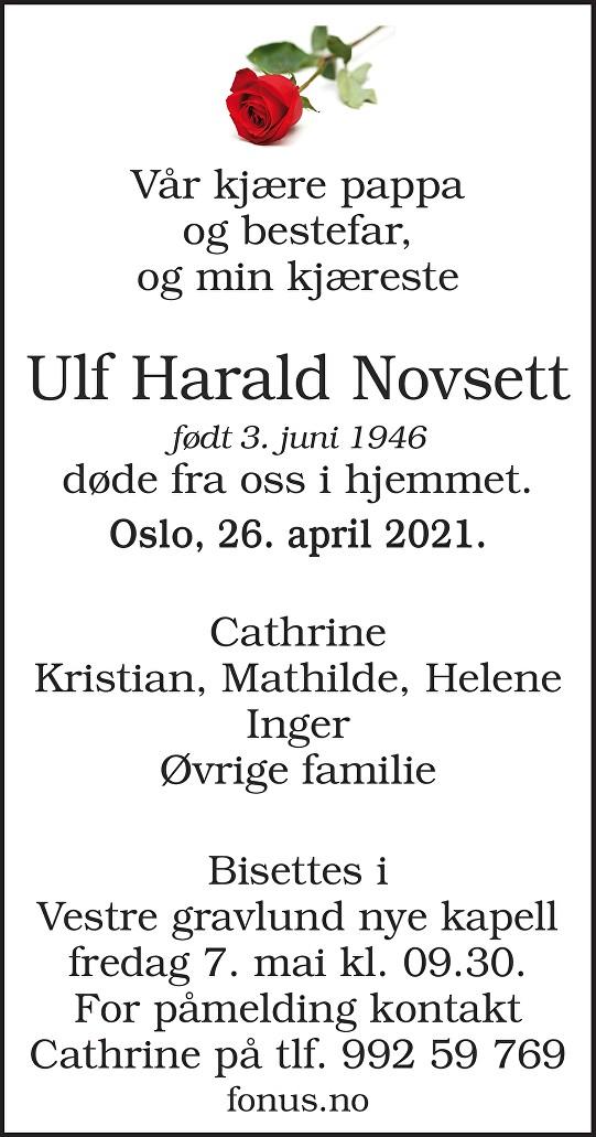 Ulf Harald Novsett Dødsannonse