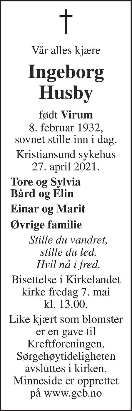 Ingeborg Husby Dødsannonse