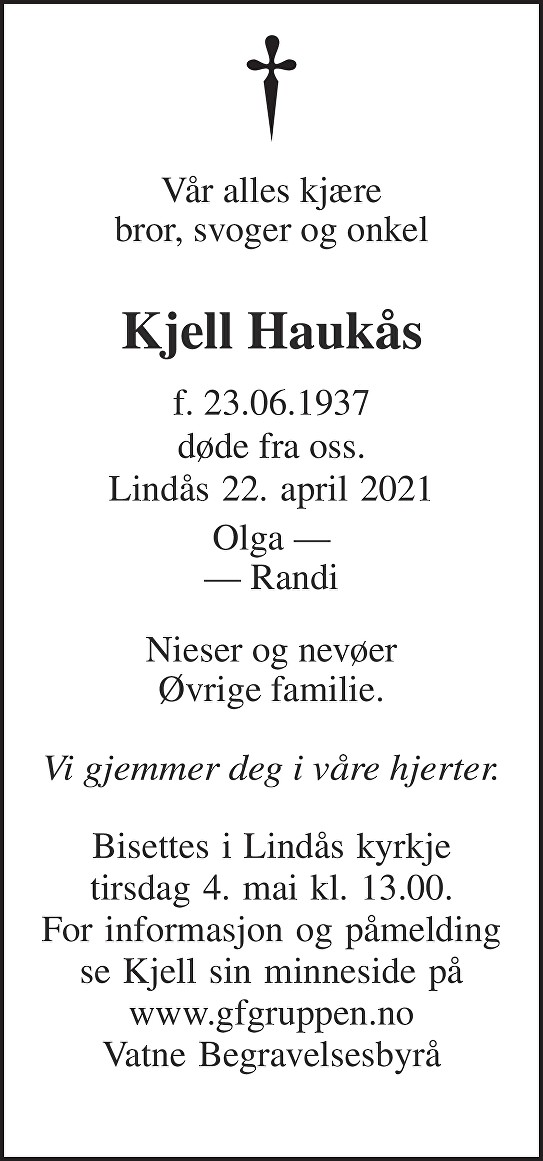 Kjell Haukås Dødsannonse