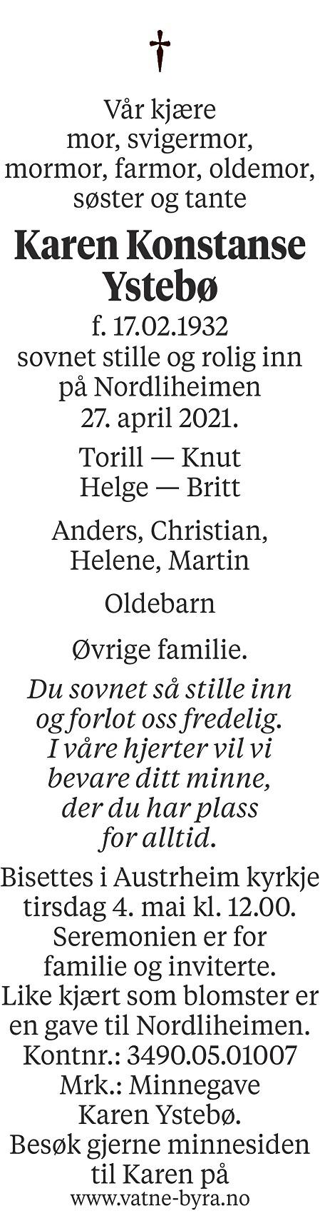 Karen Konstanse Ystebø Dødsannonse