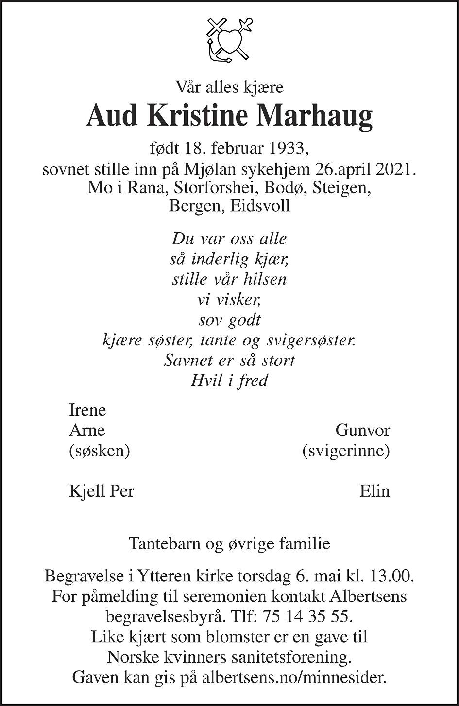 Aud Kristine Marhaug Dødsannonse