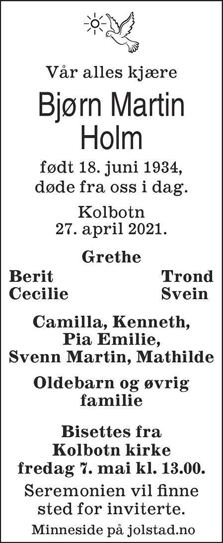 Bjørn Martin Holm Dødsannonse