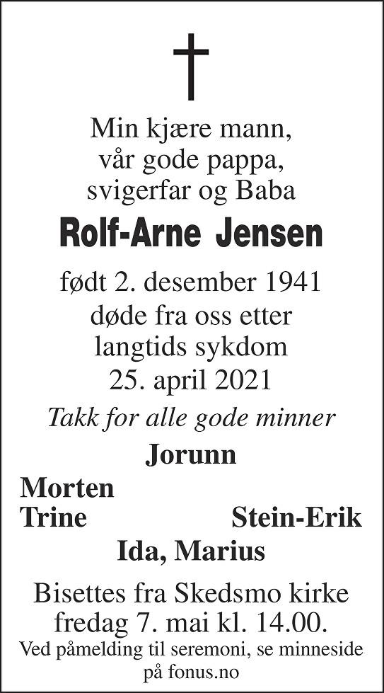 Rolf-Arne Jensen Dødsannonse
