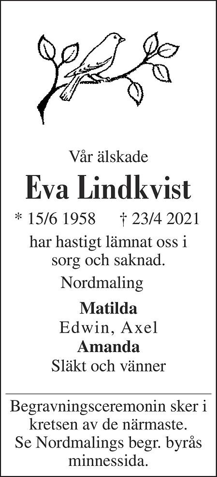 Eva Lindkvist Death notice