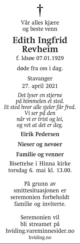 Edith Ingfrid Revheim Dødsannonse