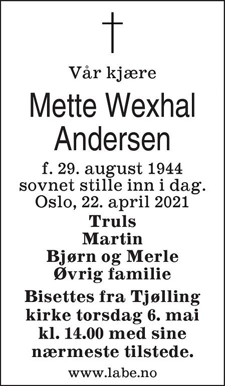 Mette Wexhal Andersen Dødsannonse