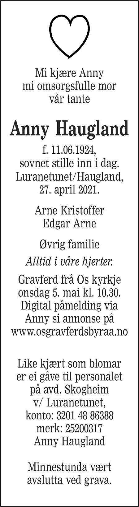Anny Haugland Dødsannonse