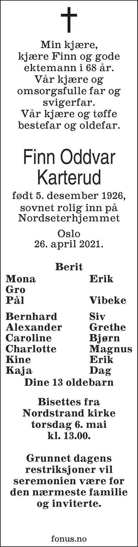 Finn Oddvar Karterud Dødsannonse