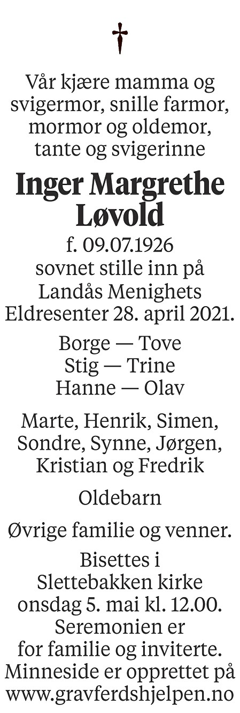 Inger Margrethe Løvold Dødsannonse