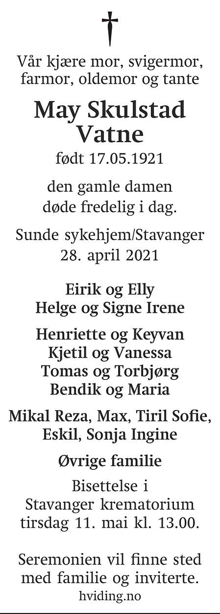 May Skulstad Vatne Dødsannonse
