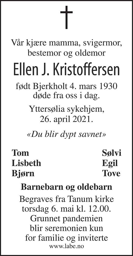 Ellen Johanne Kristoffersen Dødsannonse