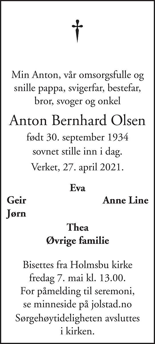 Anton Bernhard Olsen Dødsannonse