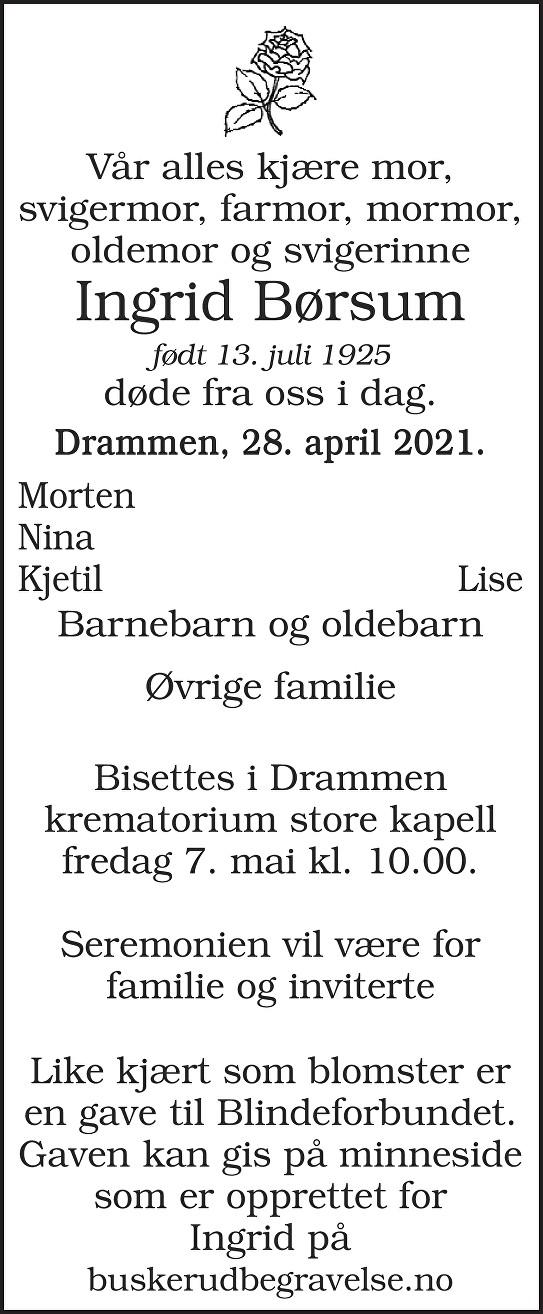 Ingrid Børsum Dødsannonse