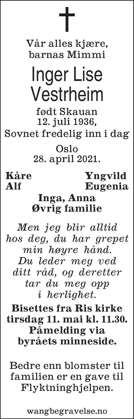 Inger Lise Vestrheim Dødsannonse