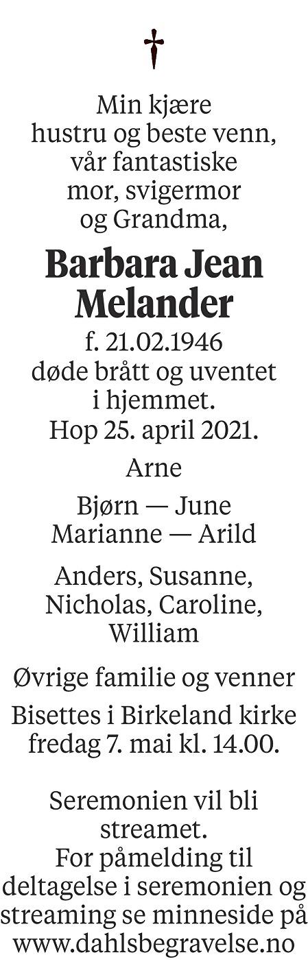 Barbara Jean Melander Dødsannonse