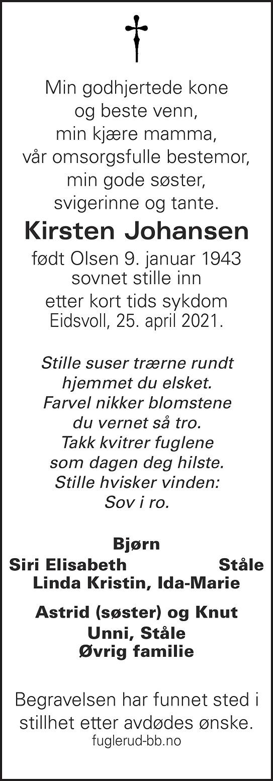 Kirsten Johansen Dødsannonse