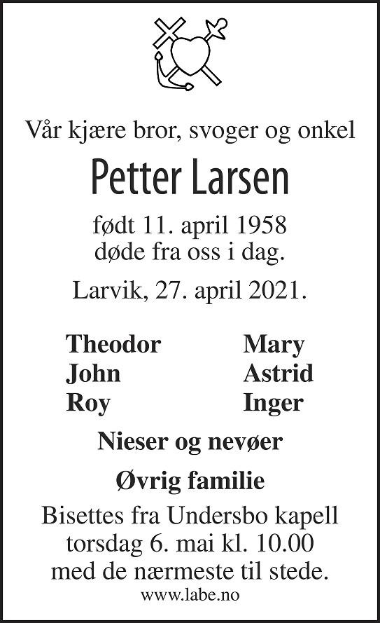 Petter Larsen Dødsannonse