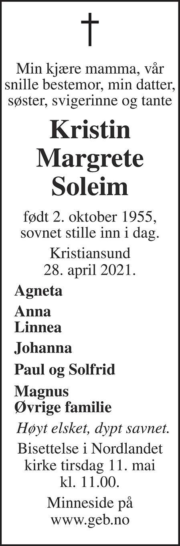 Kristin Margrete Soleim Dødsannonse