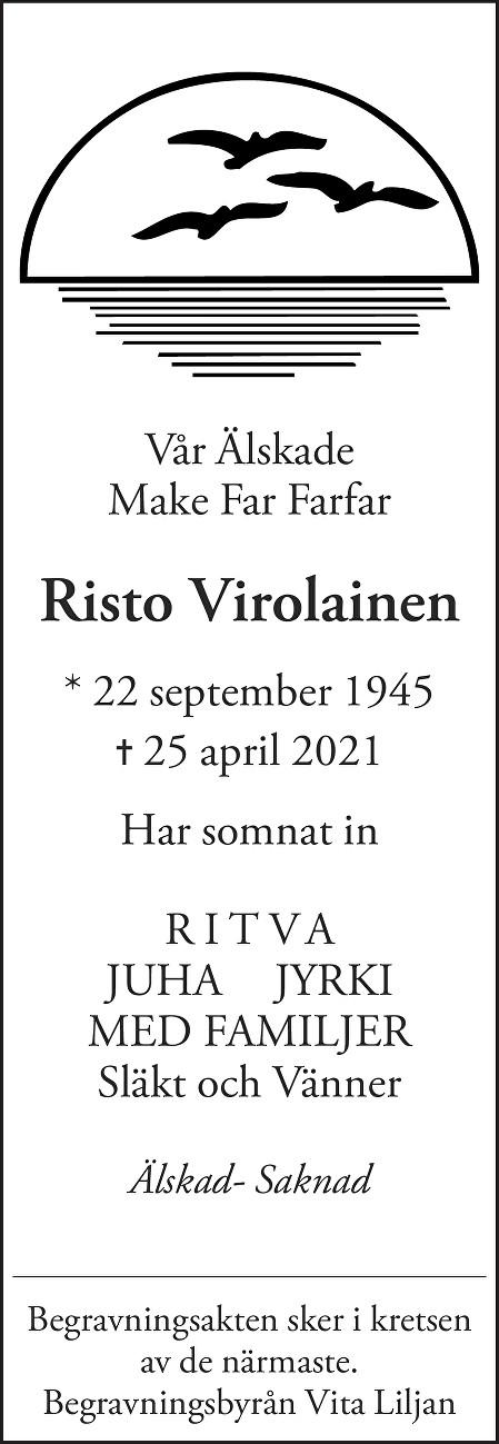 Risto Virolainen Death notice