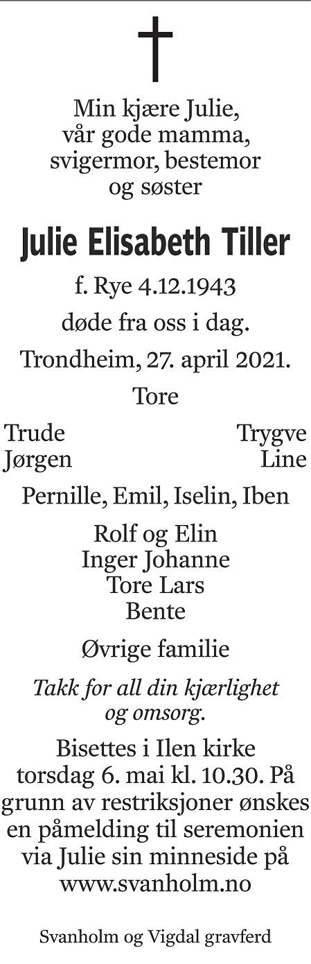 Julie Elisabeth Tiller Dødsannonse