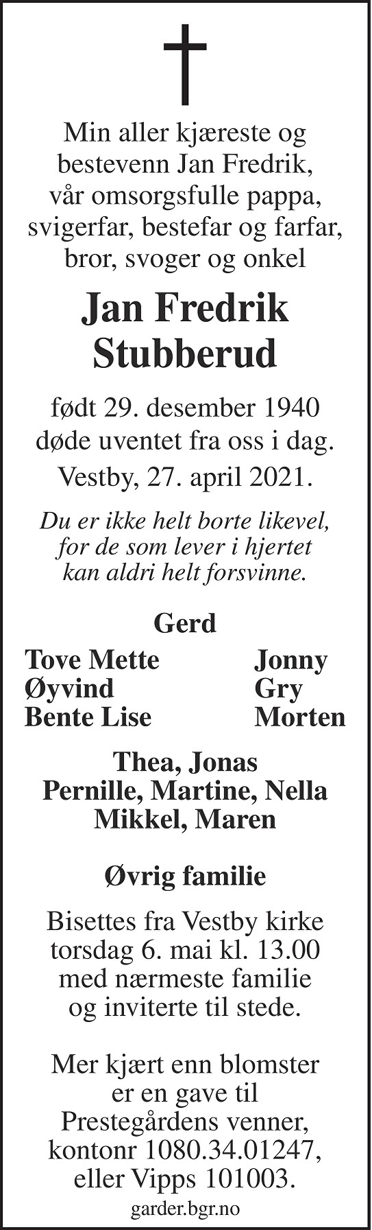 Jan Fredrik Stubberud Dødsannonse