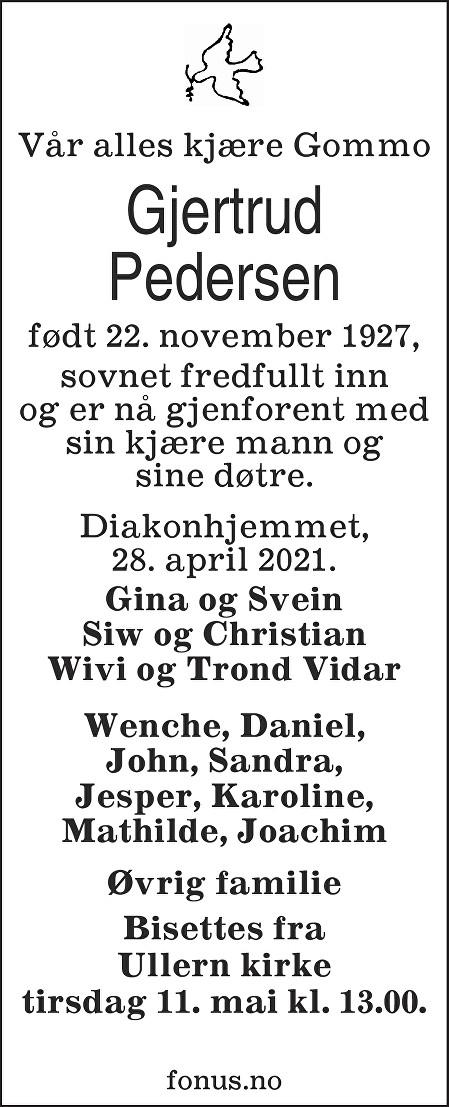 Gjertrud Pedersen Dødsannonse