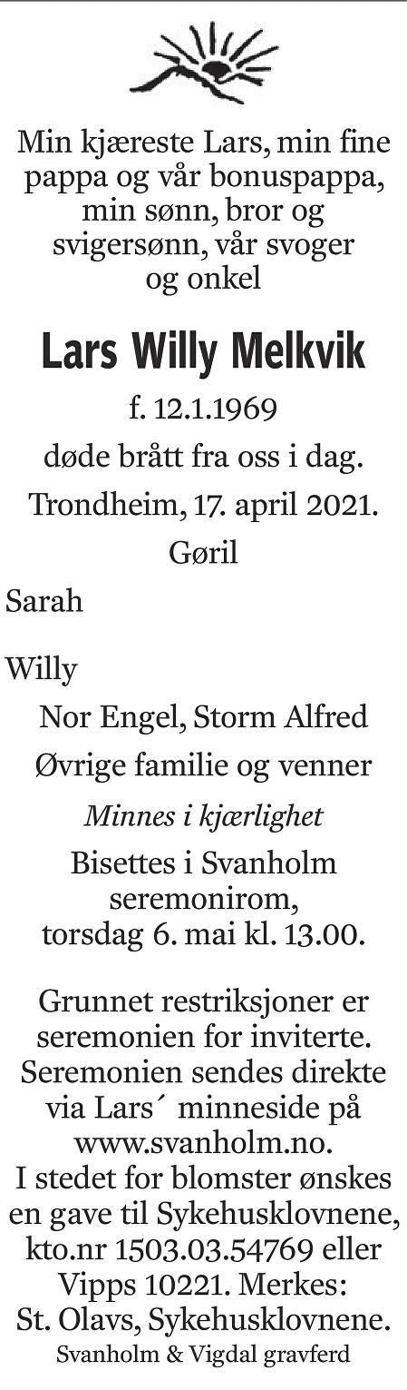 Lars Willy Melkvik Dødsannonse
