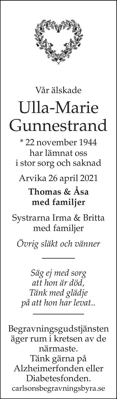 Ulla-Marie Gunnestrand Death notice