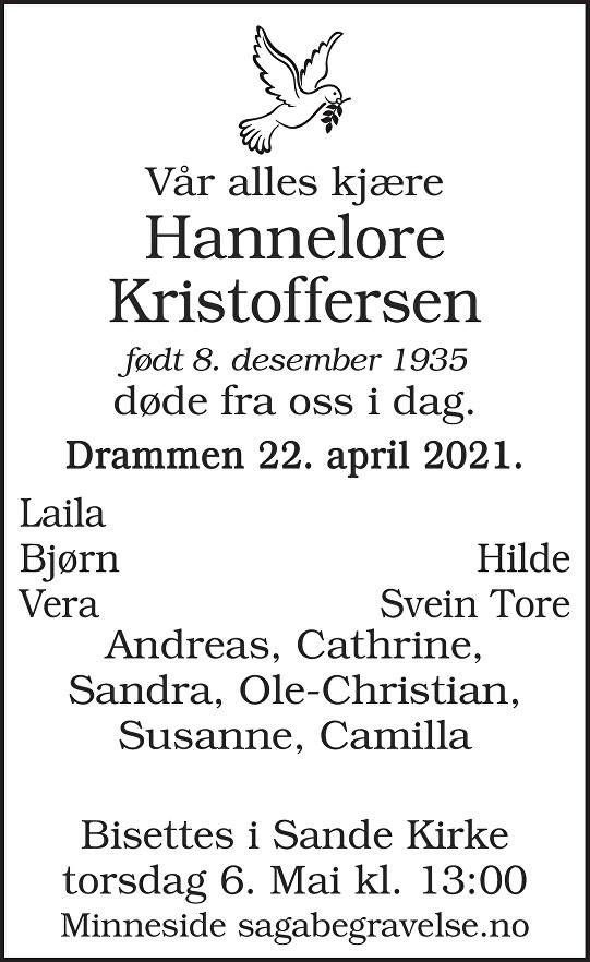 Hannelore Kristoffersen Dødsannonse