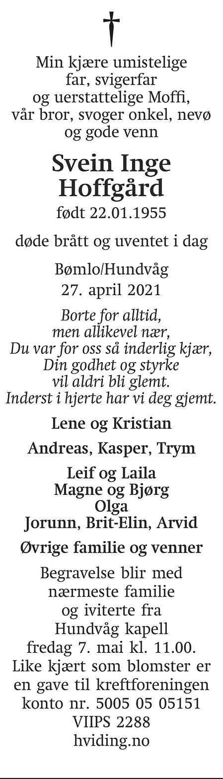 Svein Inge Hoffgård Dødsannonse