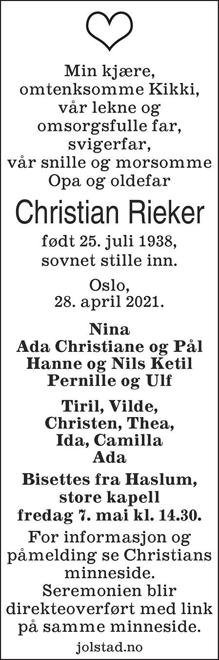 Christian Rieker Dødsannonse