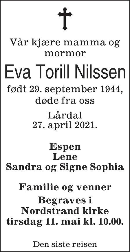 Eva Torill Nilssen Dødsannonse