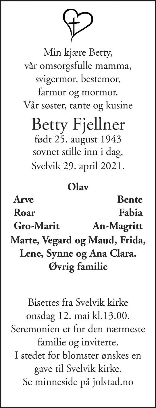 Betty Fjellner Dødsannonse