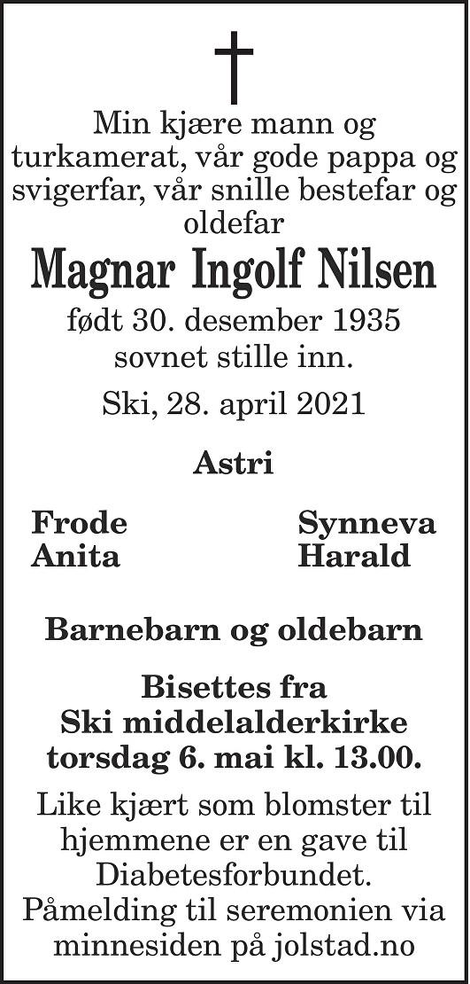 Magnar Ingolf Nilsen Dødsannonse