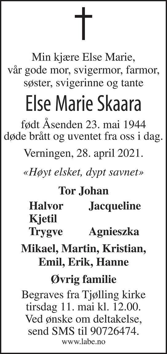Else Marie Skaara Dødsannonse