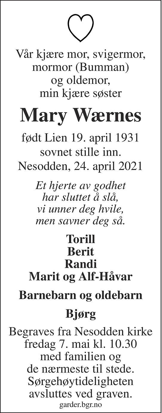 Mary Wærnes Dødsannonse