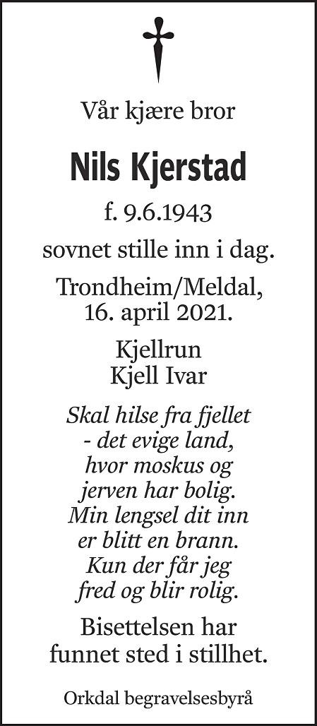 Nils Kjerstad Dødsannonse