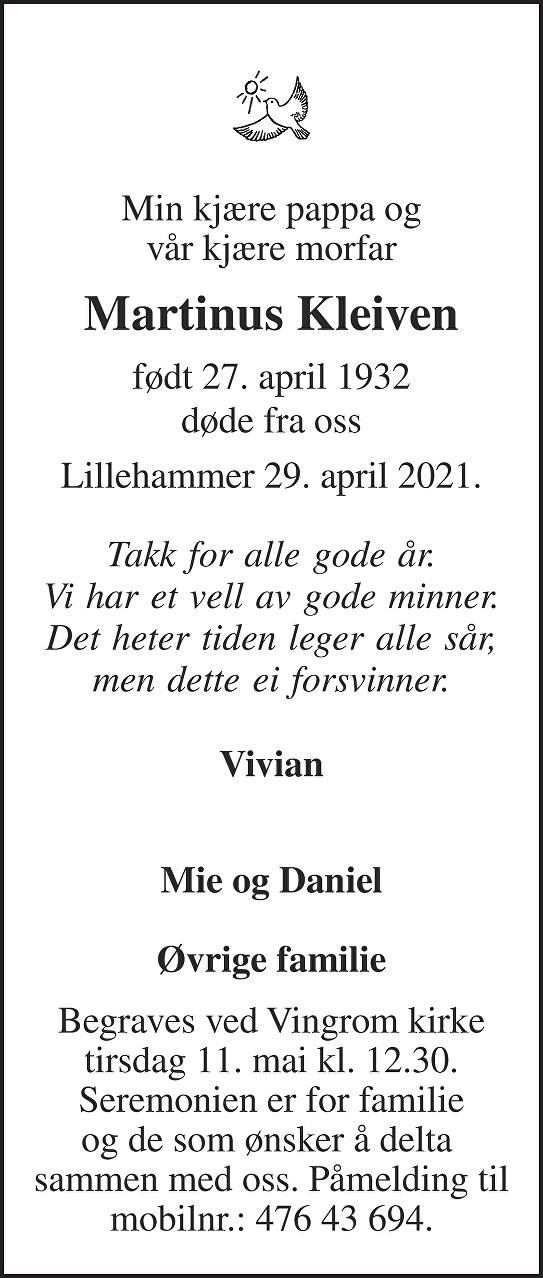 Martinus Kleiven Dødsannonse