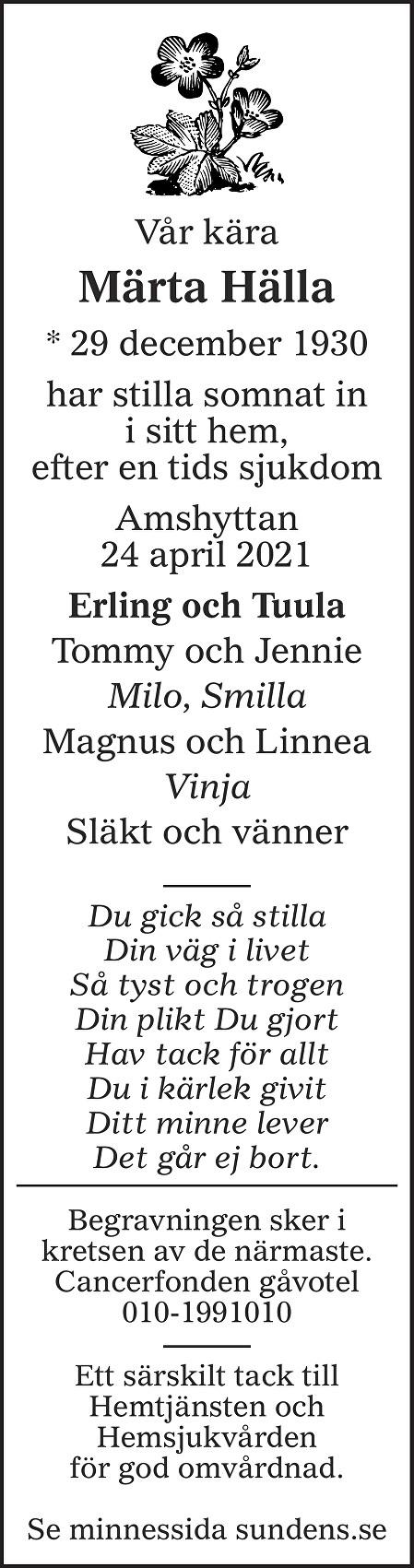 Märta Hälla Death notice
