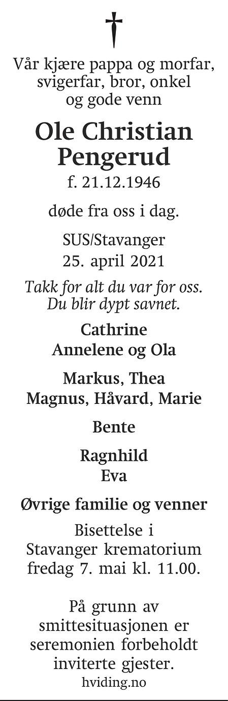 Ole Christian Pengerud Dødsannonse