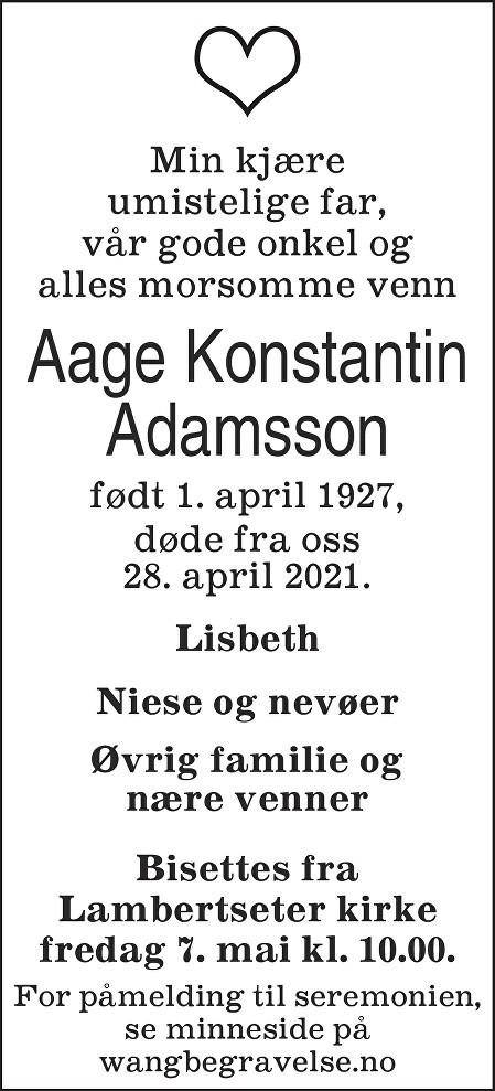 Aage Konstantin Adamsson Dødsannonse
