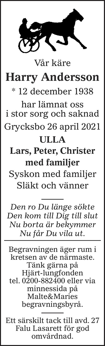 Back Nils Harry Andersson Death notice