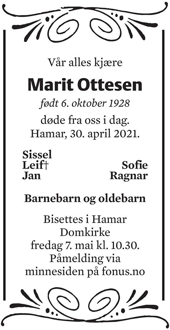 Marit Gjertrude Ottesen Dødsannonse