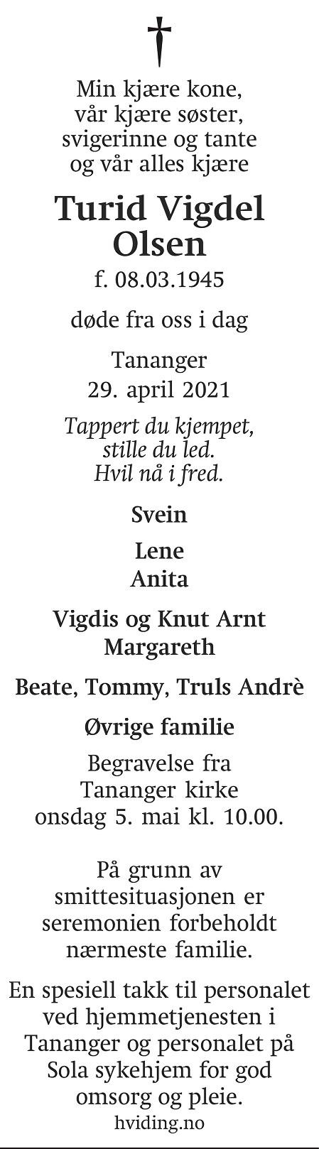 Turid Vigdel Olsen Dødsannonse