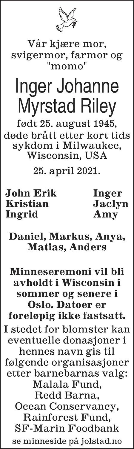 Inger Johanne Myrstad Riley Dødsannonse