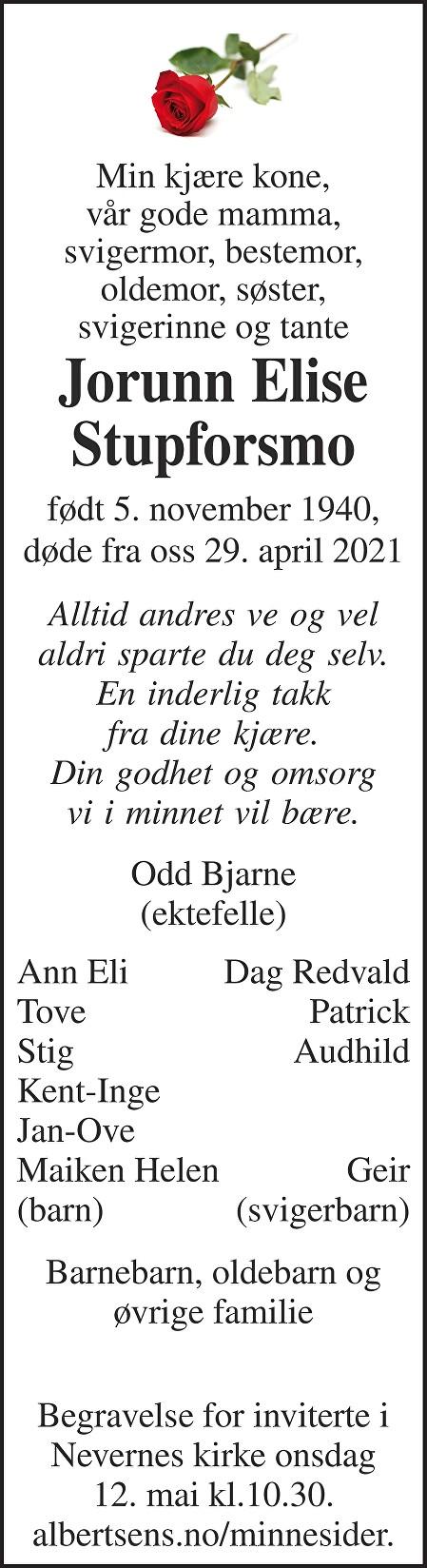 Jorunn Elise Stupforsmo Dødsannonse
