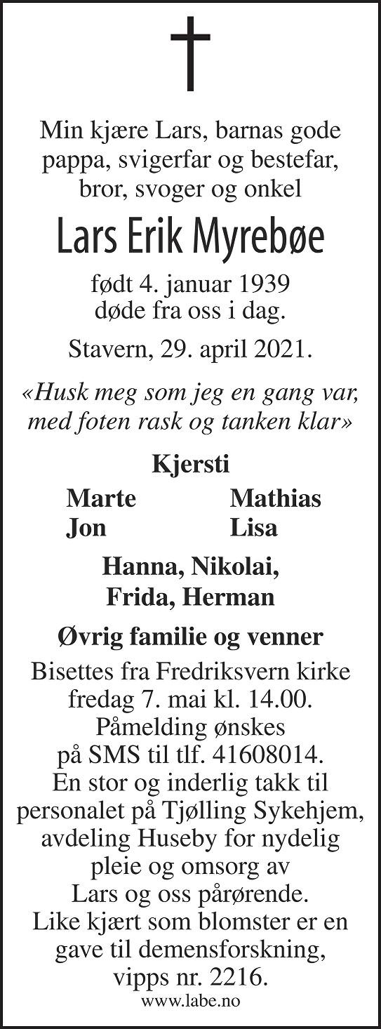Lars Erik Myrebøe Dødsannonse